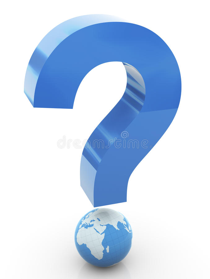 3d Global Question Mark Royalty Free Stock Photos