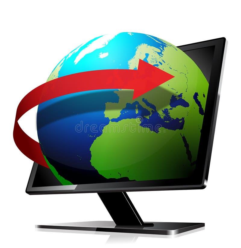 3d globe. Leaving the screen with an orbit arrow