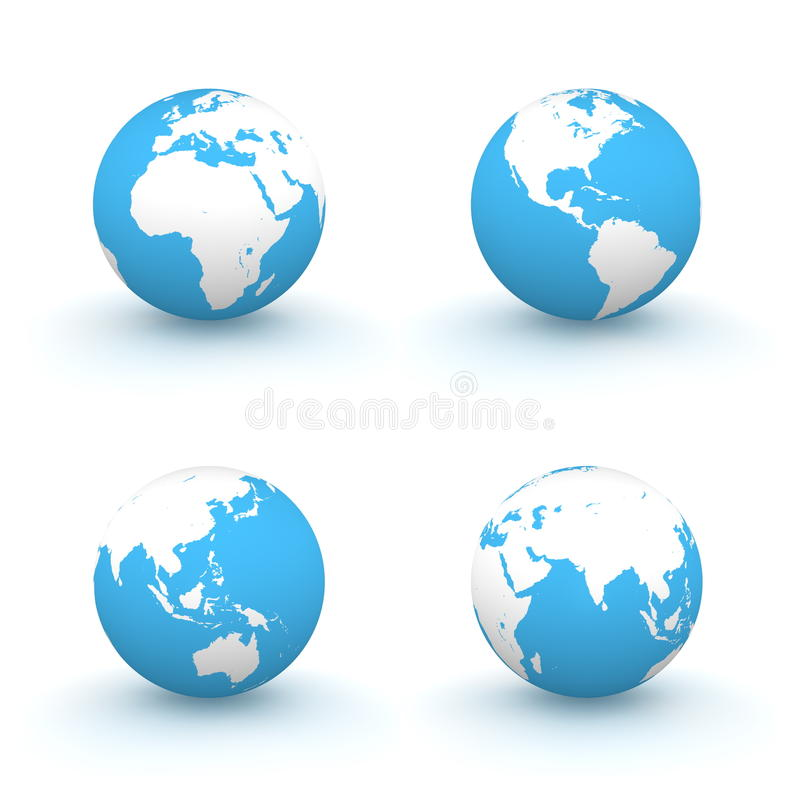 Download 3D Globes In White And Blue Stock Illustration - Illustration: 11923065