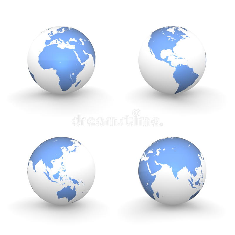 Download 3D Globes In White And Shiny Blue Stock Illustration - Image: 12927232