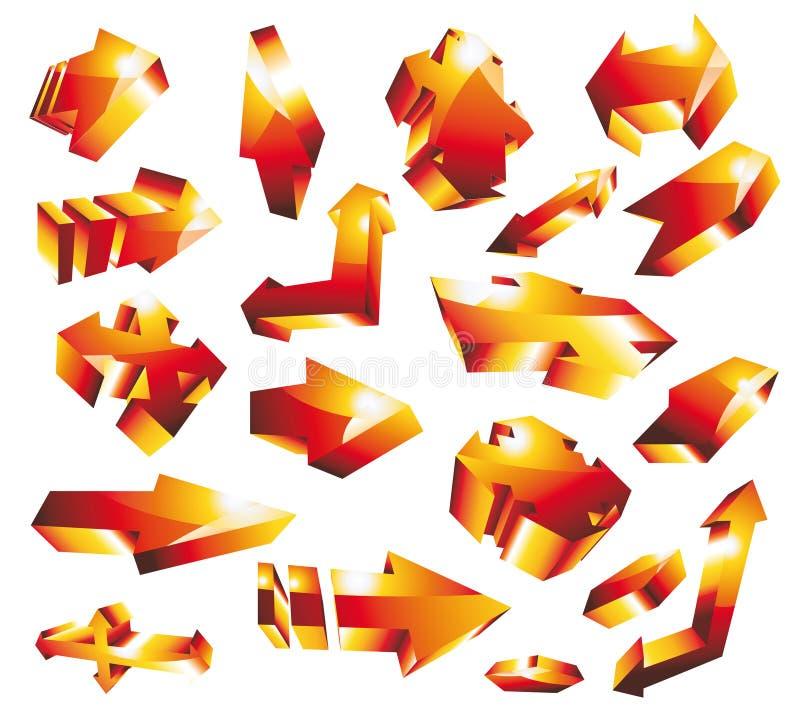 Download 3D Glossy Gold Orange Arrow Set Stock Vector - Illustration of shape, glass: 13192165