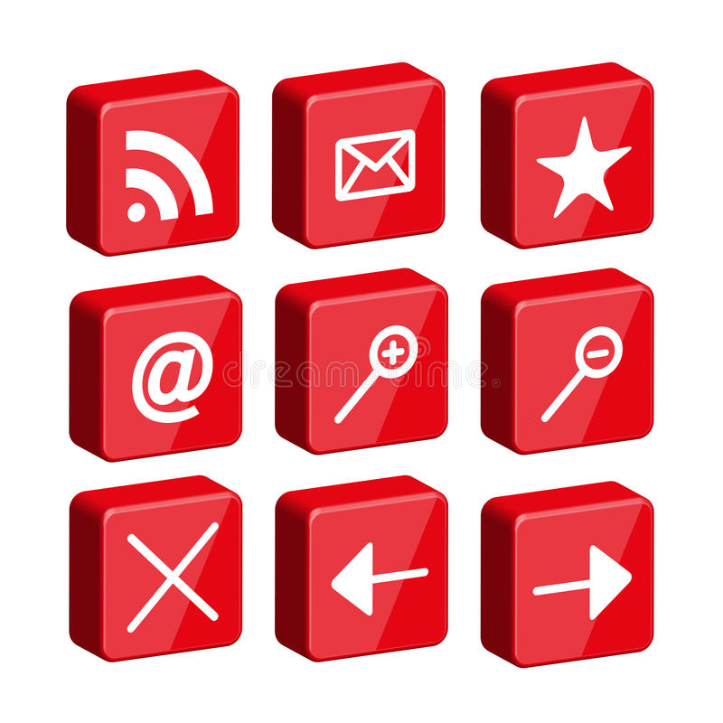 3d glossy web icon set vector illustration