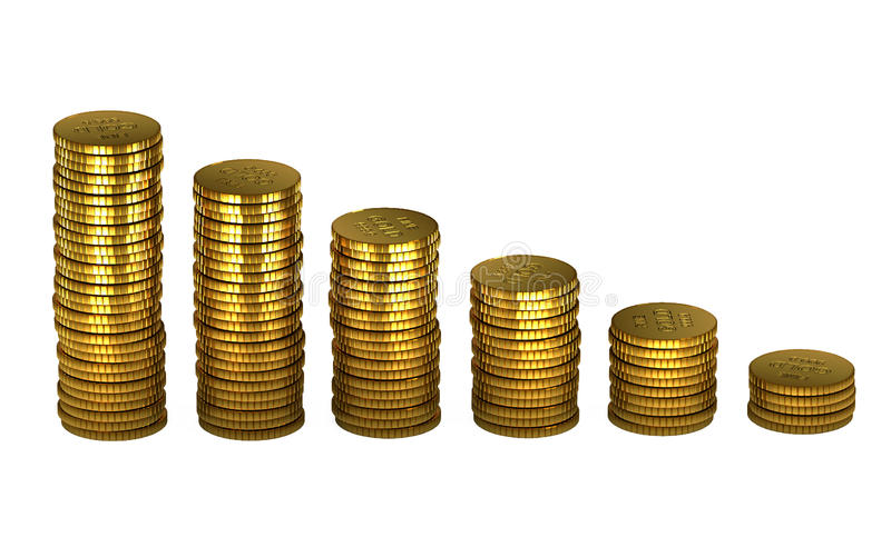 3d gold bars and coins. On white vector illustration