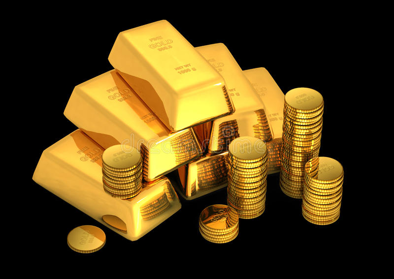 3d gold bars and coins royalty free illustration