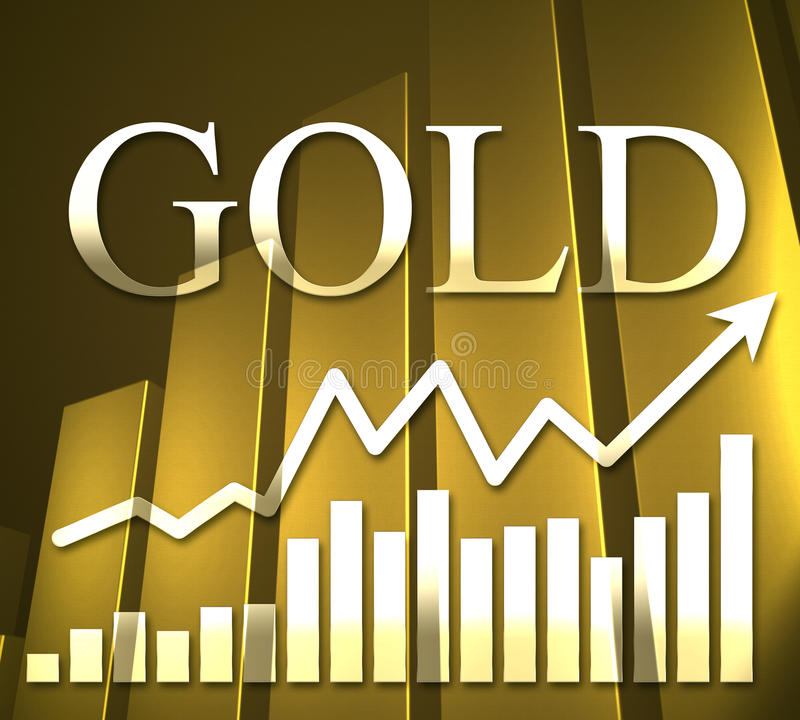 3D Gold Chart. 3D rendering of gold lettering and gold chart royalty free illustration