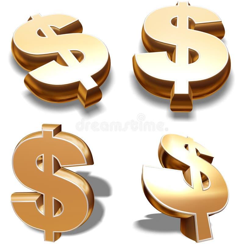 3D Gold Dollars Symbols Royalty Free Stock Image