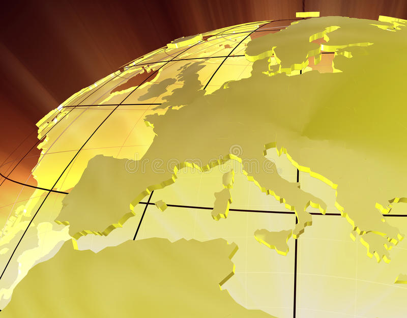 Download 3D Gold Europe stock illustration. Image of kingdom, globe - 11994533