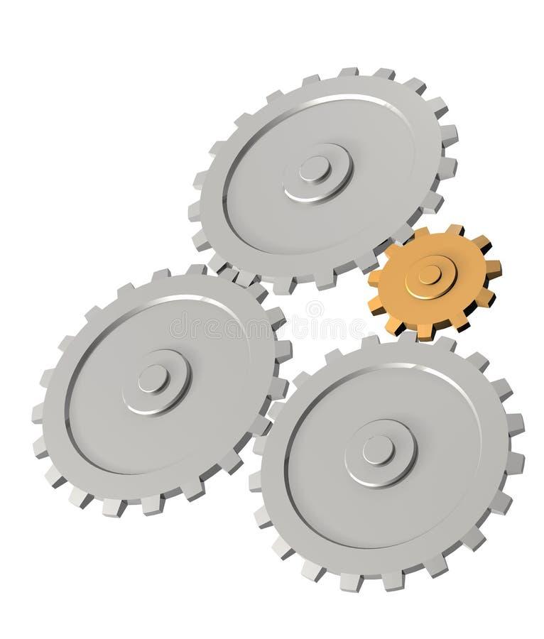 The 3d gold gear, rotating three steel gears stock illustration