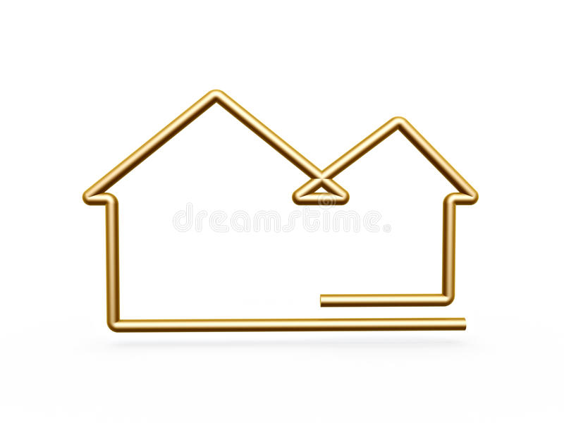 3d Gold Line House Symbol Stock Photos