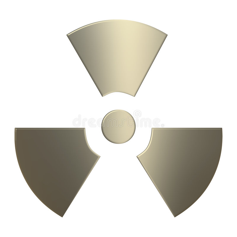 3d Gold Radioactivity Symbol