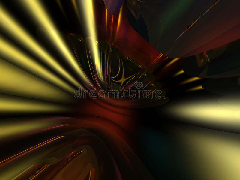 3D Gold Red Abstract Wallpaper Background stock illustration