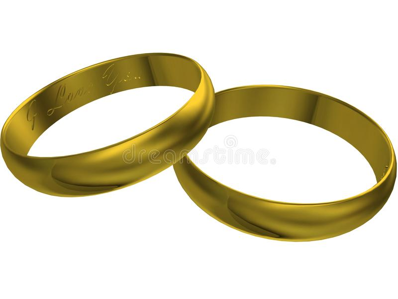 Download 3d gold wedding rings stock illustration. Illustration of fiancee - 14727950