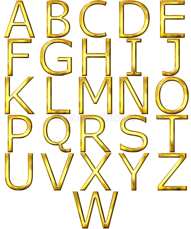 Download 3D Golden Alphabet stock illustration. Image of sign, artistic - 9245040