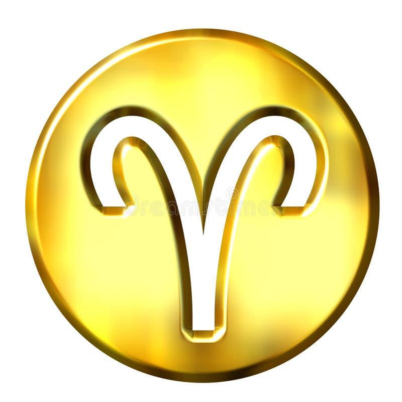 3D Golden Aries Zodiac Sign vector illustration