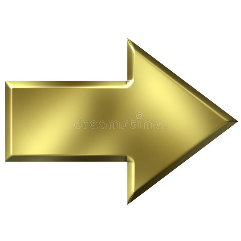 3D Golden Arrow stock illustration. Illustration of ...