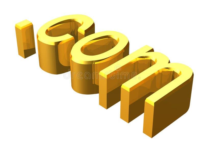 3d golden .com. In white background stock illustration