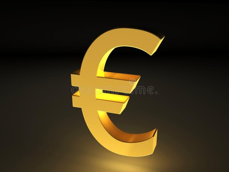 3D Golden currency symbol of Euro stock illustration