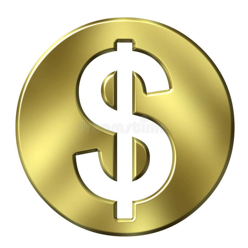 Free 3D Golden Framed Dollar Sign Stock Photography - 3948522