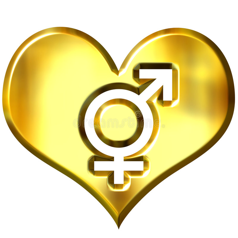 3d golden heart with combined gender signs stock illustration
