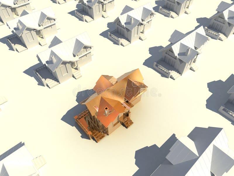 3d golden house stock illustration