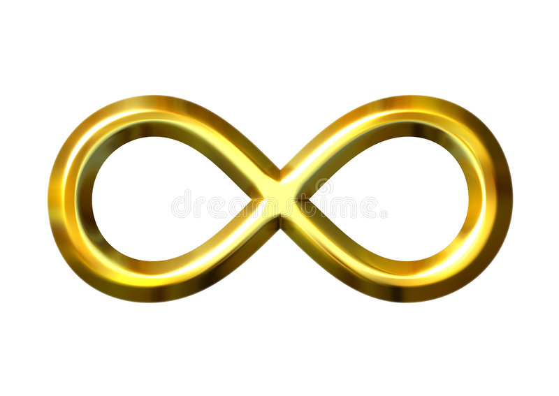 3D Golden Infinity Symbol royalty free illustration