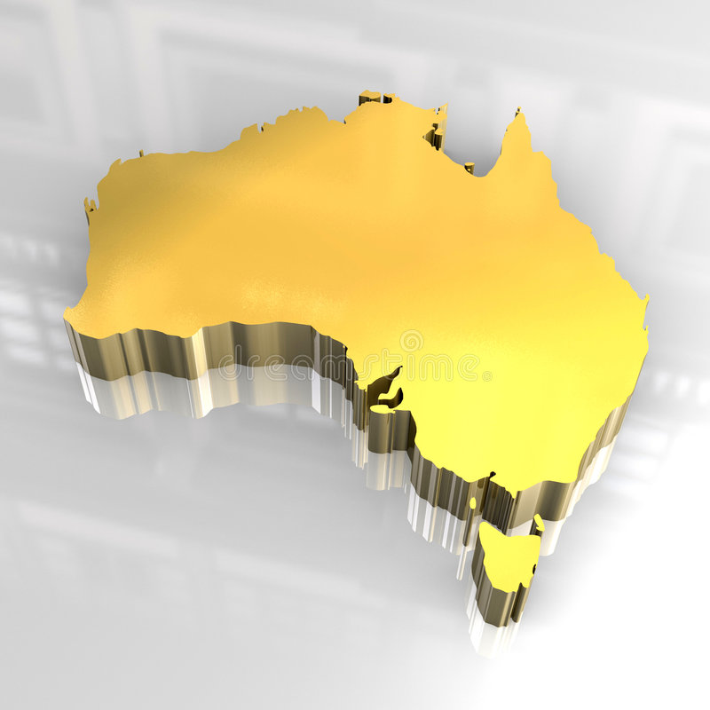3d Golden Map Of Australia Royalty Free Stock Image