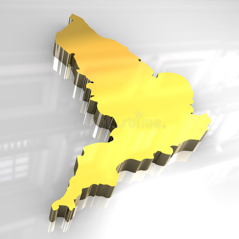 3d Golden Map Of England Royalty Free Stock Image