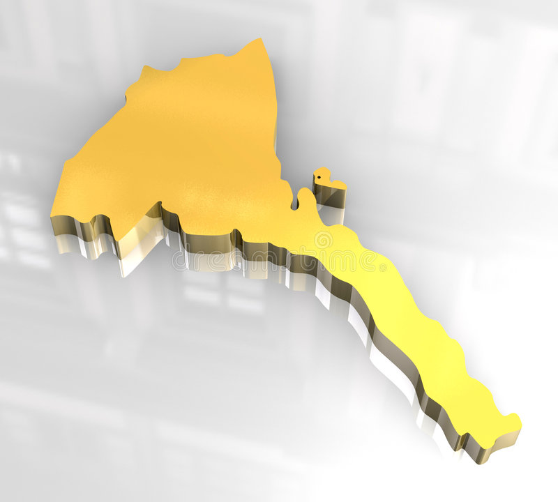 Download 3d Golden Map Of Eritrea Royalty Free Stock Photo - Image: 6624545