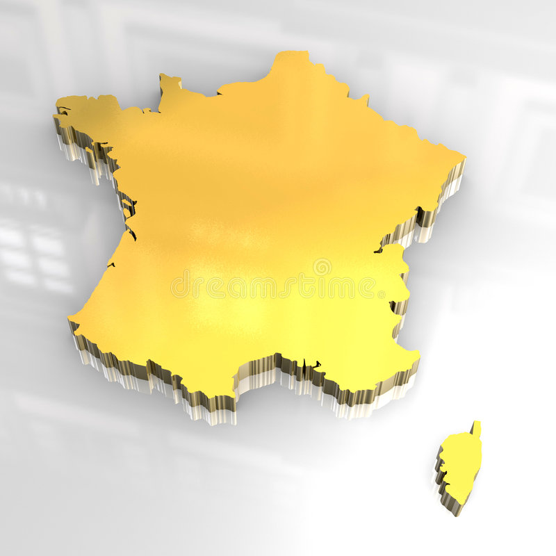 3d Golden Map Of France Stock Photo