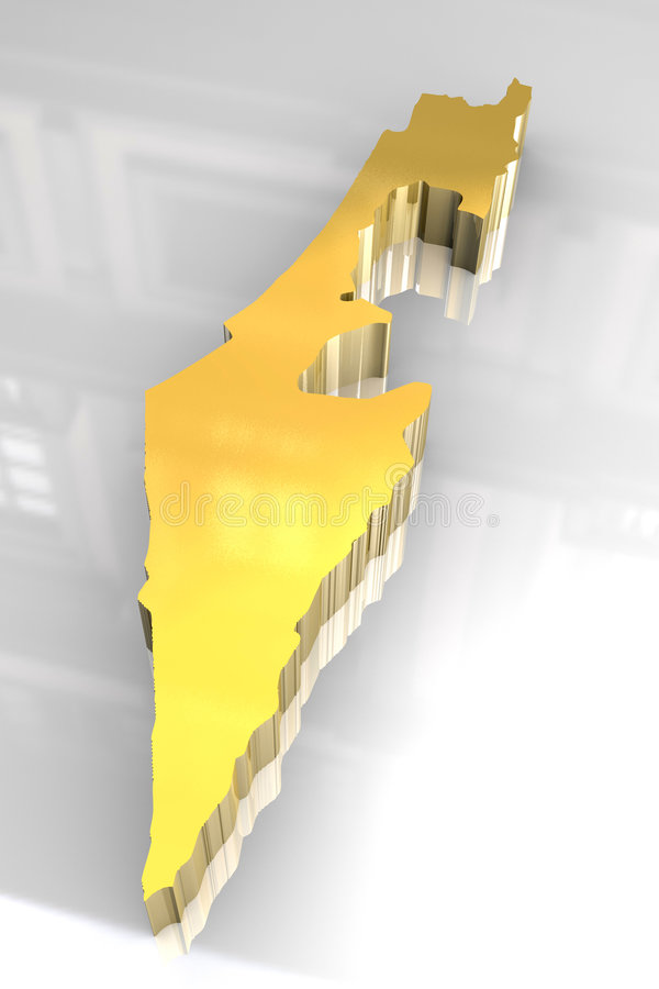 Download 3d Golden Map Of Israel Stock Image - Image: 9118541