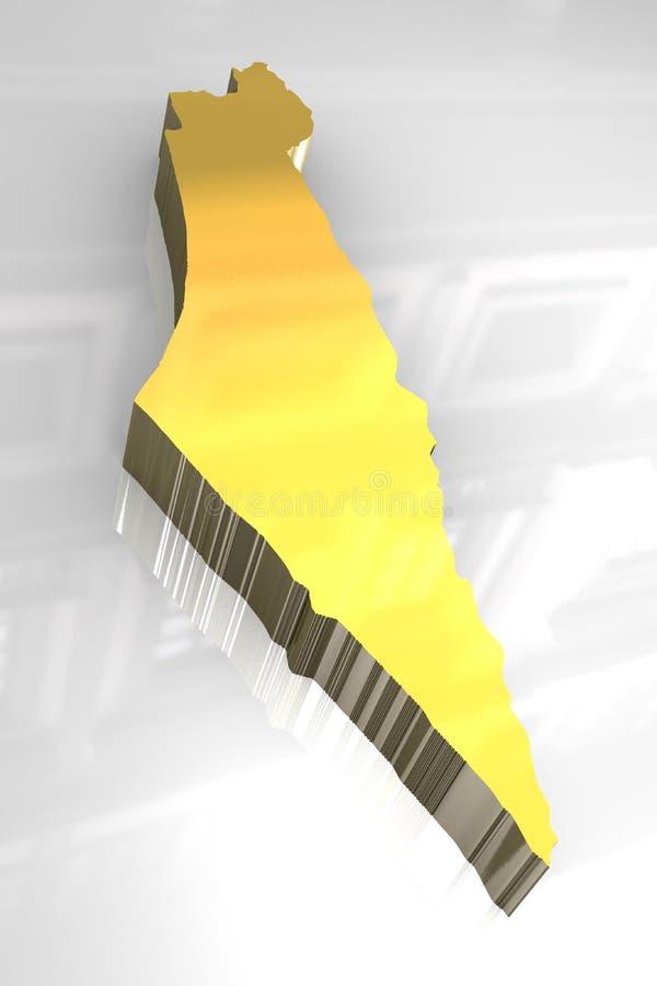 3d golden map of Israel vector illustration