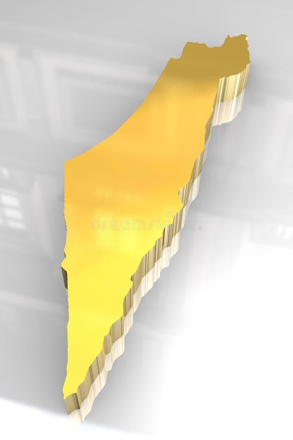 3d golden map of Israel stock illustration