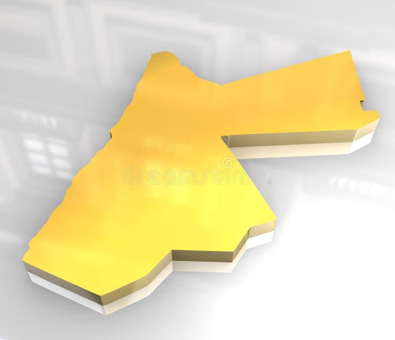 3d golden map of jordan. 3d made flag map of jordan stock illustration