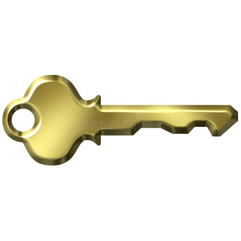 3D Golden Modern Key stock illustration