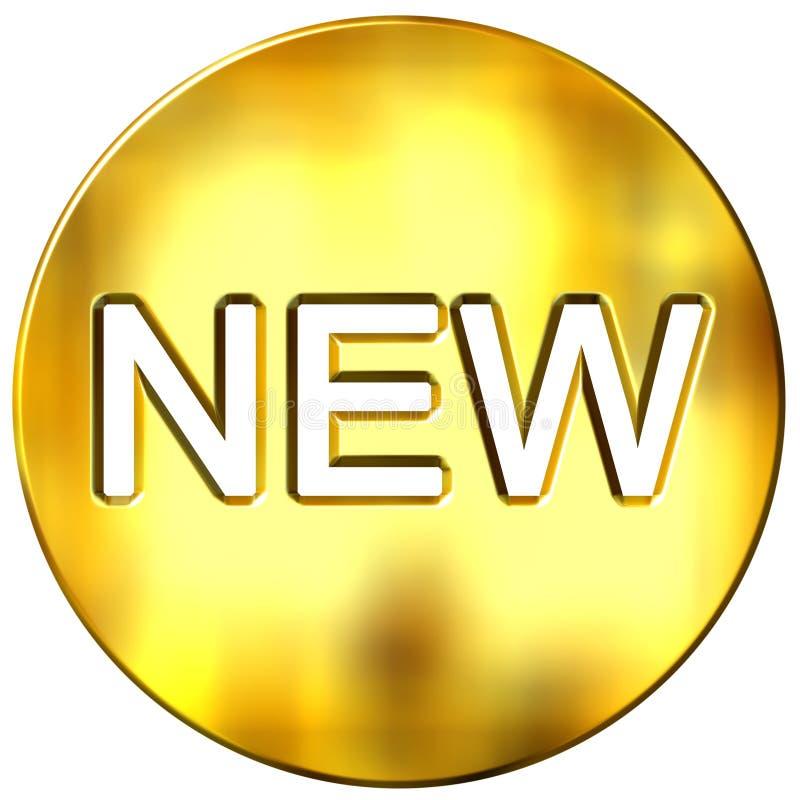 3d golden new badge stock illustration