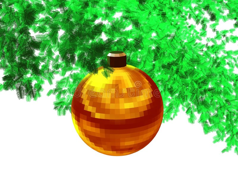 3D-Golden red faceted ball(w) stock image