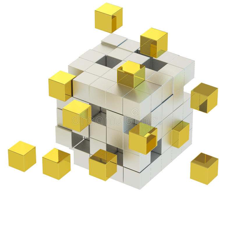 3D golden and silver cube stock illustration