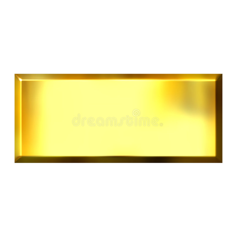 3D Golden Square Button vector illustration