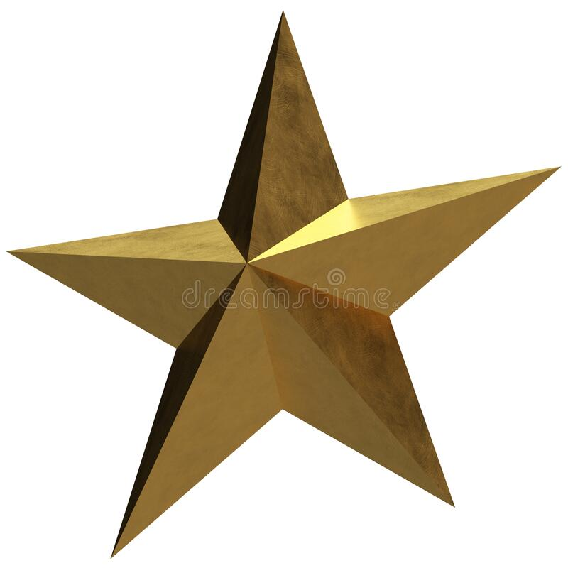 Free 3D Golden Star 3 - Pointy & Brushed Texture Stock Images - 169257014