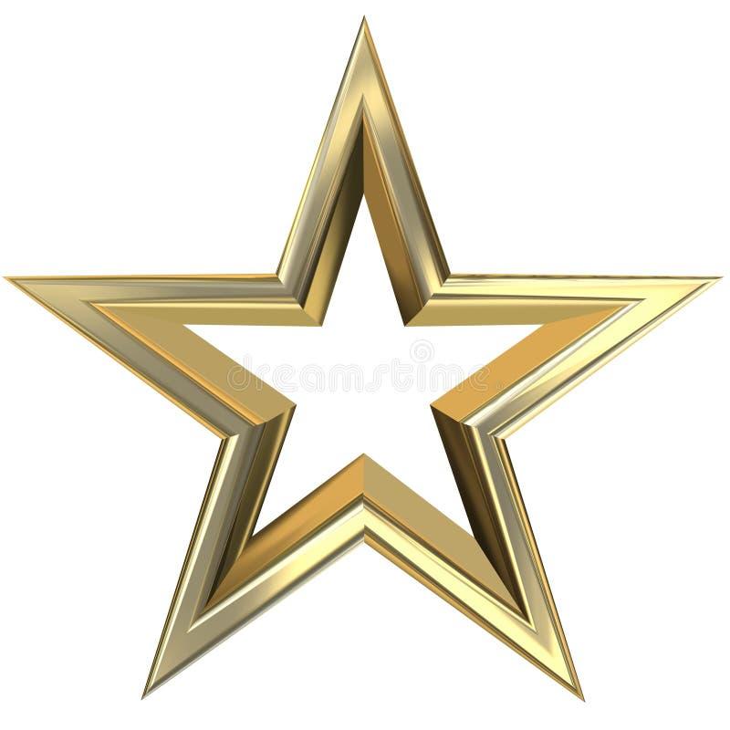 3d golden star. 3D rendering of golden star front view stock illustration