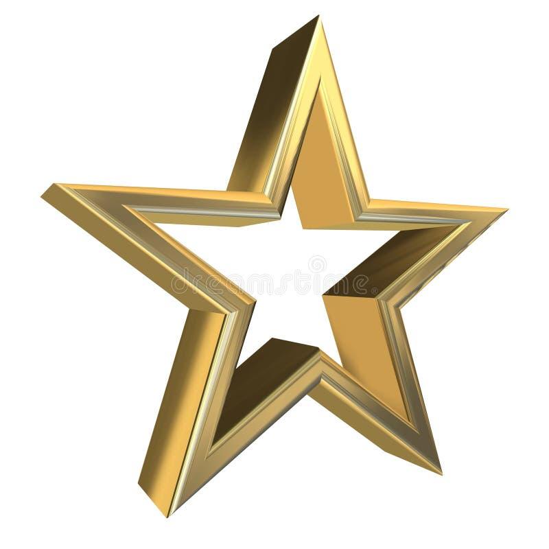 3d golden star. 3D rendering of golden star side view royalty free illustration