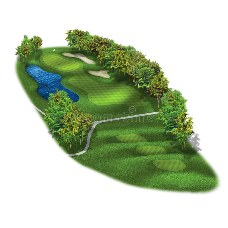 3D Golf Course Hole Layouts. Par three golf hole with green flag royalty free illustration