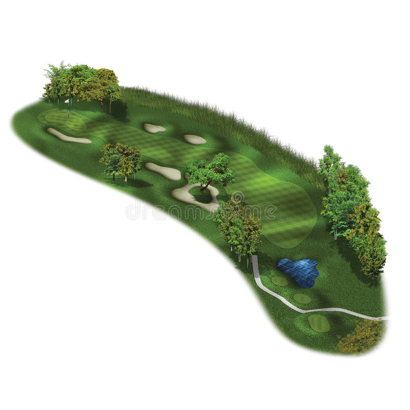 3D Golf Course Hole Layouts. Grass texture golf course hole setup vector illustration