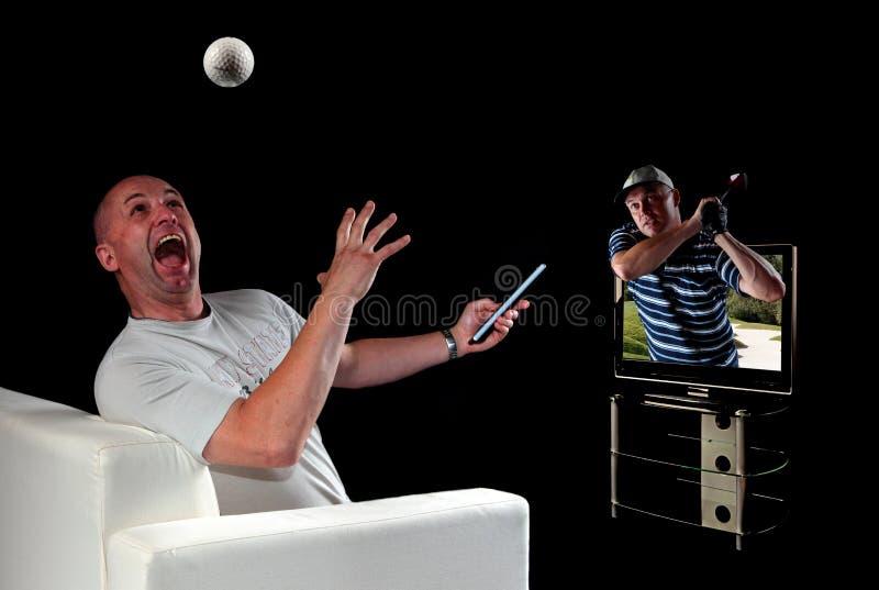3d golfa mężczyzna telewizyjny dopatrywanie zdjęcie royalty free