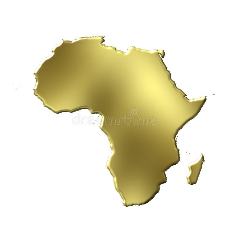 3D Gouden Kaart van Afrika vector illustratie