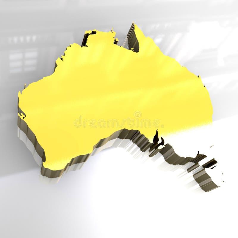 3d gouden kaart van Australië royalty-vrije illustratie