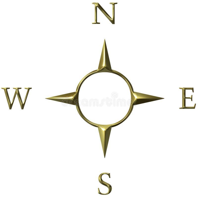 3D Gouden Kompas royalty-vrije illustratie