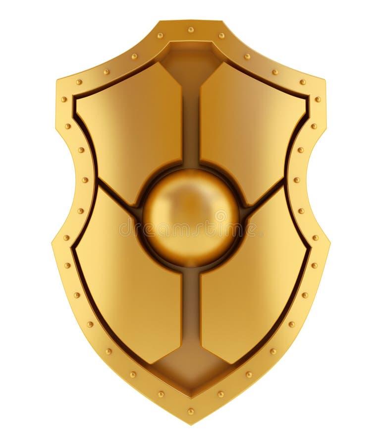 3D gouden schild royalty-vrije illustratie