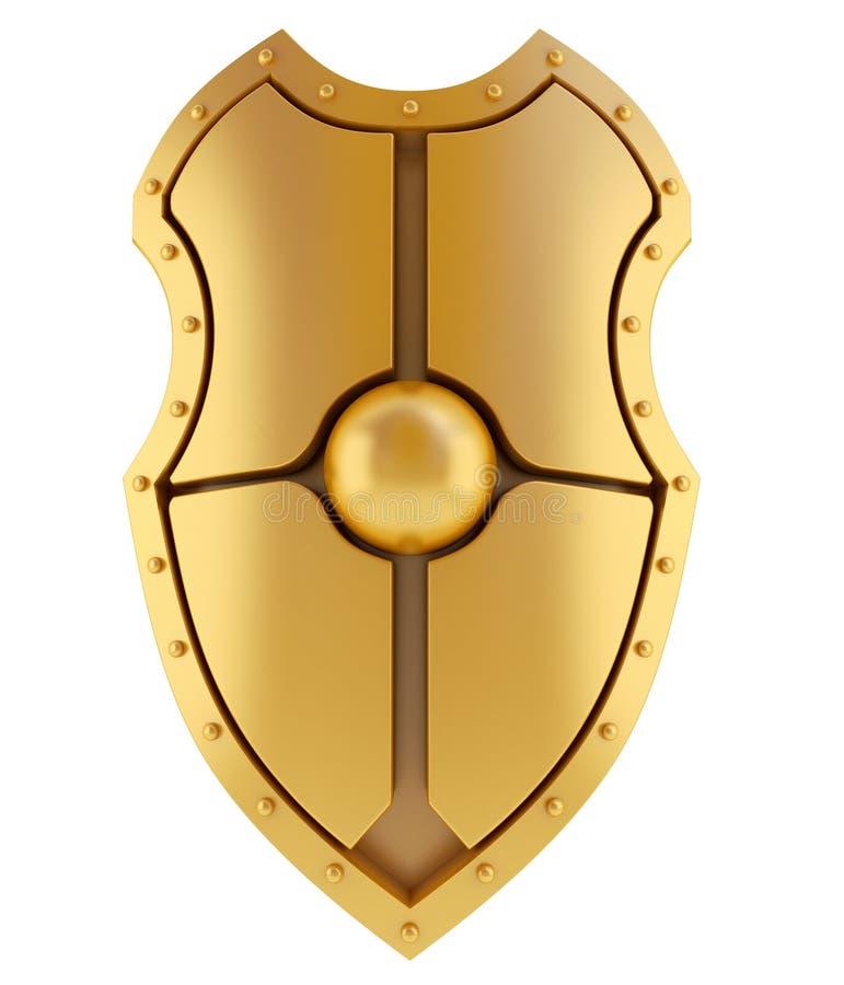 3D gouden schild stock illustratie