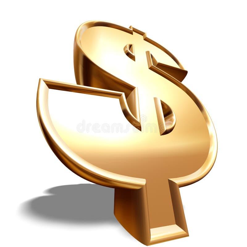 3D Gouden Symbool van de Dollar vector illustratie